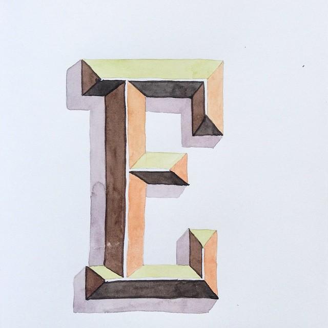 Lettering watercolor letter E