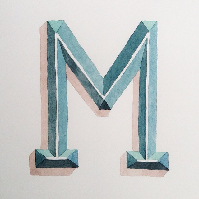 Lettering watercolor letter M
